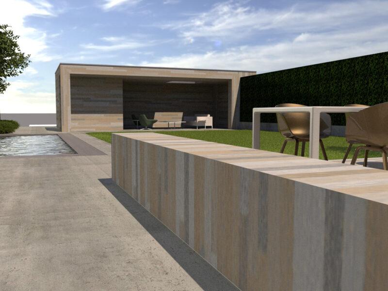 Tuin met modern poolhouse