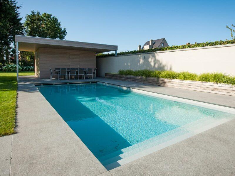 Mooi zwembad en moderne poolhouse